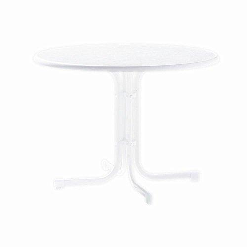 Sieger 136/W Boulevard-Klapptisch mit mecalit-Pro-Platte Ø 100 cm, Stahlrohrgestell weiß, Tischplatte Marmordekor weiß
