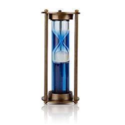 1-2 Minute Hourglass Sand Timer Water Clock With Sparkling White Sand 7 Brass Vintage Antique Style Nautical Collectors Gift Decorative Souvenir Unique Creative Gifts For Home Office Study Desk