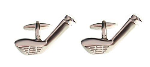 Golf Manschettenknöpfe Schläger silbern matt glänzend (größeres Modell!) + exklusiver Buchbox