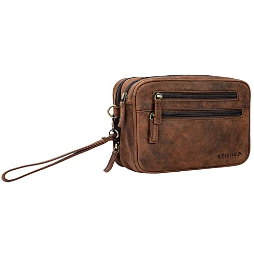STILORD \'Nero\' Handgelenktasche Herren Leder mit Doppelkammer Vintage Handtasche für 8,4 Zoll Tablets ideal für Reisen Festival Herrenhandtasche echtes Leder, Farbe:Sepia - braun