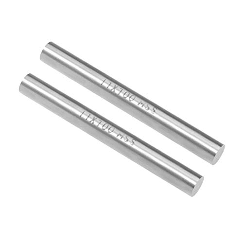 uxcell Round Steel Rod, 11mm HSS Lathe Bar Stock Tool 100mm Long, for Shaft Gear Drill Lathes Boring Machine Turning Miniature Axle, Cylindrical Pin DIY Craft Tool, 2pcs