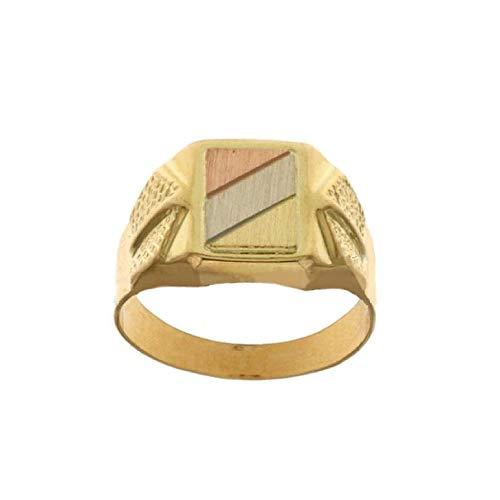 Anello In Oro Giallo, Bianco E Rosa 18 Kt 750/1000 Modello A Scudo Da Uomo, 16