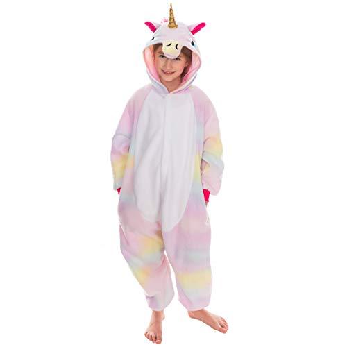 Spooktacular Creations Unisex Kinder Pyjama Plüsch Onesie Schlafanzug, Mädchen Jumpsuit Einhorn Tierkostüm Halloween Karneval Kostüm (Large, Pink)