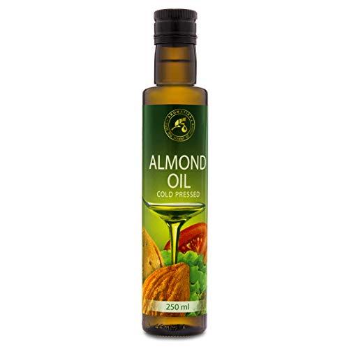 Aceite de Almendras Dulces 250 ml - Prensado en Frío - 100% Puro y Natural para Aderezo de Hojas Verdes - Verduras - Salsas - Postres - Horneado - Italia - Botella de Vidrio - Omega 6 9