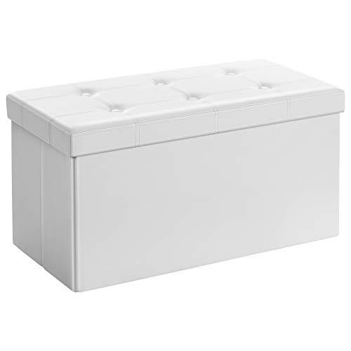 SONGMICS Sitzhocker Sitzbank mit Stauraum faltbar 2-Sitzer belastbar bis 300 kg Kunstleder, weiß, 76 x 38 x 38 cm, LSF106