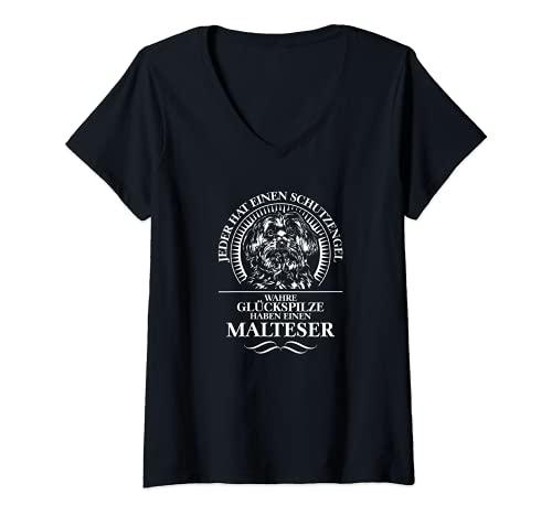 Damen Malteser Schutzengel Hund Hunde Hundespruch T-Shirt mit V-Ausschnitt