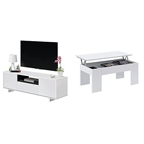 Habitdesign 0G6631Bo - Mueble De Comedor TV Moderno, Color Blanco Brillo Y...