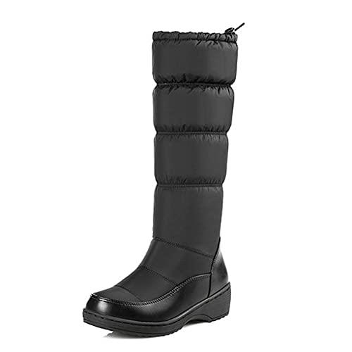 Botas De Nieve Cálidas para Mujer Zapatos De Moda De Invierno Botas Largas hasta La Rodilla Zapatos De Algodón con Punta Redonda Informal Retro Botas De Caballero De Gran Tamaño,Black-41