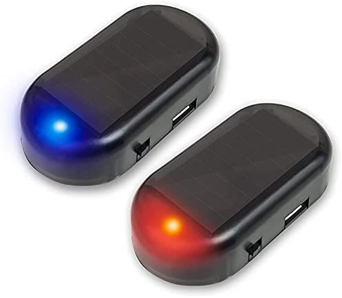 HUWUFUN 2pcs Car Solar Power Alarm Warning System Anti-Theft LED Flashing Security Light Fake Lamp Flash Blinking Lamp with USB Port(Blue+Red)