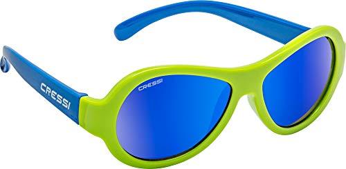 Cressi Unisex– Babys Scooby Sunglasses Polarisiert Kinder Sonnenbrille, Grün Blau/Spiegel Linse Blau, 0-2 Jahre