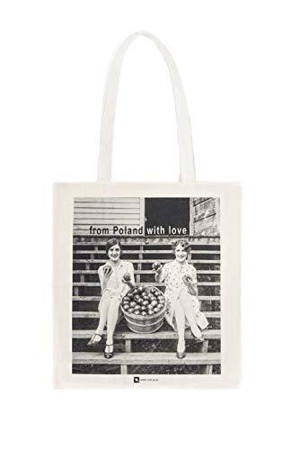 Galeria LueLue Baumwolltasche, Tote Bag, Baumwolle Bio, Handgemacht, Fotografie - Mädchen und Äpfel aus Polen, Mit Liebe aus Polen - Vintage Fotografie