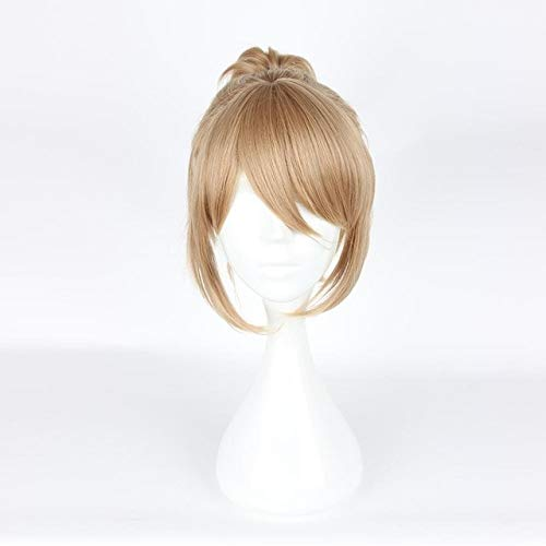 Príncipe de la zancada alternativa Yagami Riku Cosplay peluca 30 cm corto recto pelo sintético Clip de garra cola de caballo Anime peluca FlaxenYagami Riku