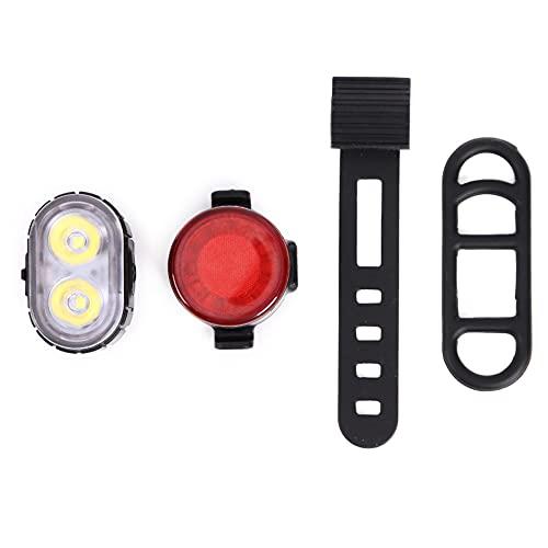 Juego de luces de bicicleta, luces de ciclo delanteras y trasera, luces de bicicleta recargables por USB, IPX4, resistentes al agua, combinaciones de luces traseras para bicicleta