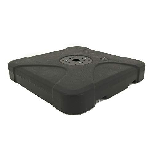 Edenjardi Base de Parasol péndulo rellenable de 120 Kg en Color Negro con agarres, Tamaño: 81x81x12 cm, Material: Polietileno de Alta Densidad (HDPE)