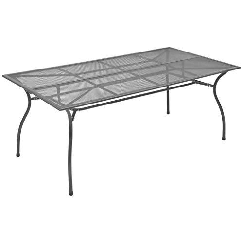 vidaXL Tavolo da Giardino Robusto Elegante Industriale Design a Rete Tavolo e Sedie Arredi Mobili da Esterno in Acciaio Antracite 170x89,5x72,5 cm