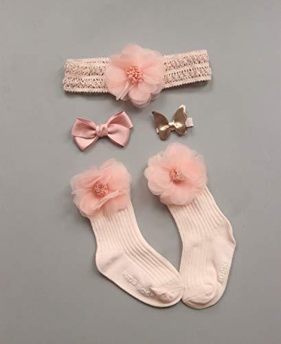 0-24M Niedliche Kleinkind Neugeborene Baby Solide Blume Socken + Stirnband Set...
