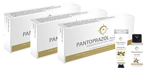 Pantoprazol 20 mg akut | Sparset mit 3 x 14 Tabletten inklusive Handcreme ODER Duschbad (30 ml) von Pharma Nature | bei Sodbrennen zur kurzfristigen Behandlung von Refluxsymptomen