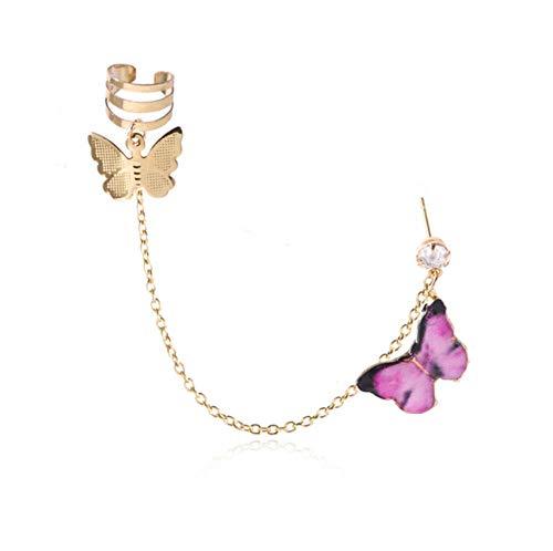 Yhhzw Lady Cute Enamel Butterfly Drop Cuff Earrings For Women Girls Jewelry Metal Chain Hanging Earrings Gifts