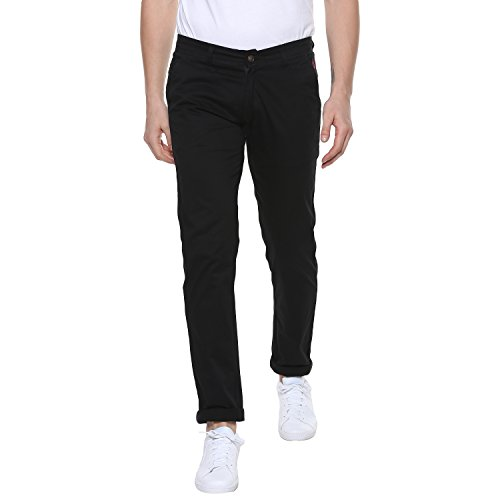 Urbano Fashion Men's Slim Fit Casual Trouser (Black, 32)