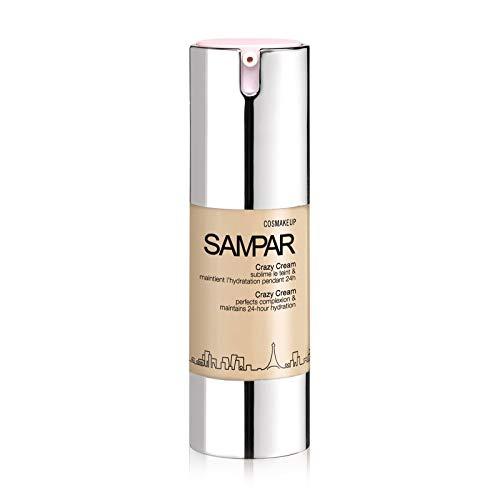 Sampar - Crazy Cream Nude - Feuchtigkeitsspendende und schützende getönte Creme, vereinheitlicht den Teint - Natürlicher Effekt - Für alle hellen und mittleren Hauttöne - Nude Shade - 30ml Flasche