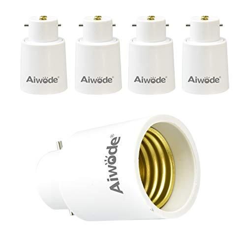 Aiwode B22 vers E27 Adaptateur de douille,Convertisseur Baïonnette pour Ampoules LED et Ampoules Halogènes,Puissance Maximale 200W,0~250V,120 Degrés Résistant à la Chaleur,Lot de 5.