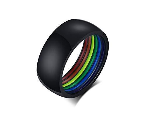 PJ JEWELLERY Normaler Edelstahl 8 mm Breite Polierter gewölbter Regenbogenstreifen-LGBT-Ring, Gay Pride Eheringe Bänder für Männer, klassischer Tagesring, Größe 59 (18.8), Schwarz