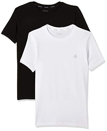 Calvin Klein Jungen T-Shirt 2PK SS Tee, Schwarz (Black/White LG 930), 170 (Herstellergröße: 14-16)