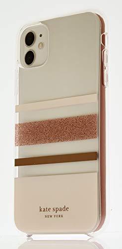 Kate Spade New York Flexible Defensive Hardshell Case for Apple iPhone 11 – Charlotte Stripe Rose Gold Foil