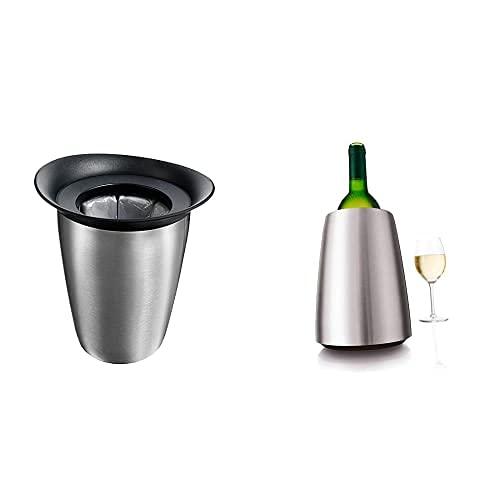 Vacu Vin Cubitera enfriadora para Botellas de Cava Elegant INOX Elemento, Acero Inoxidable, 19,1x22,5x18,3 + Chiller Bottle - Rapid Wine Cooler Color: Acero Inoxidable