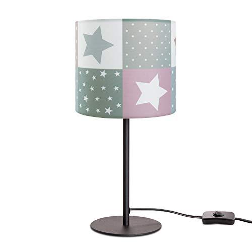 Paco Home Kinderlampe LED Tischlampe Kinderzimmer, Sternen-Motiv, Deko Tischleuchte E14, Lampenfuß:Schwarz, Lampenschirm:Pink (Ø18 cm)