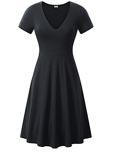 CHYU Damen Skaterkleider Knielänge Rundhals Stretch Basic Kleide V Ausschnitt Kleid Kurzarm (Black, L)