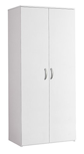 InHouse srls Armadio Moderno in Legno, 2 Ante, Bianco, 81x52 175H.