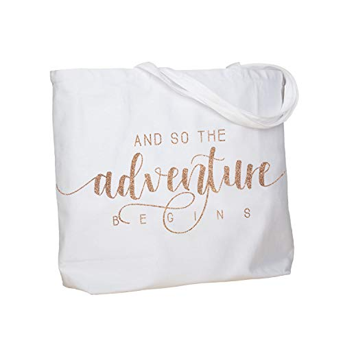 ElegantPark Bridal Shower Gifts for Bride Bag And so the Adventure Begins Bride Gifts for Wedding Bachelorette Engagement Graduation Gifts Personalized Tote with Pocket White with Champagne Glitter