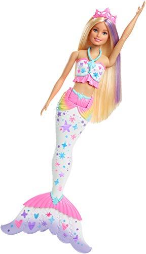 Barbie Dreamtopia Crayola Sirena color mágico, muñeca con