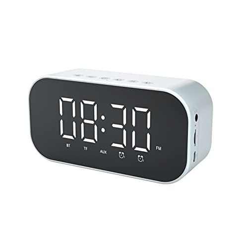 Rutaqian Espejo Digital Alarma LCD Reloj Despertador Dual con 3 Modos De Reproducción Reloj De Cabecera Brillo Ajustable Alarma Portátil Caja De Sonido Inalámbrica Blanco