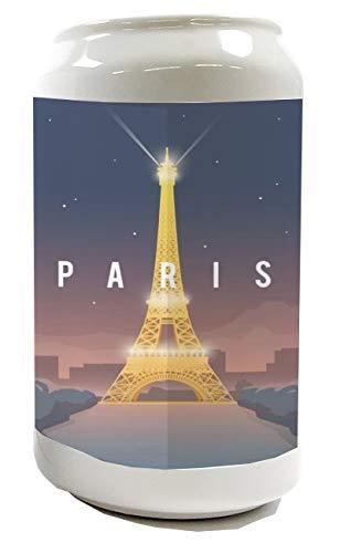 LEotiE SINCE 2004 Spardose Sparbüchse Geld-Dose Wiederverschließbar Farbe Weiß Reisen Küche Eifelturm Paris Keramik Bedruckt