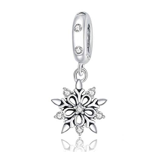 FeatherWish 925 Sterling Silver Christmas Snowflake Winter Dangle Bead Charm With Cubic Zirconia Compatible With Pandora Bracelet