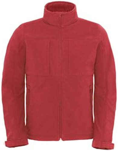B & C Collection Softshell   Hommes capuche rouge S