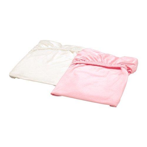 IKEA Len Spannbettlaken für Kinderbett, Weiß / Pink, 2 Stück 203.201.90 Größe 28 x 52