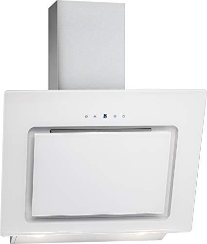 Bomann DU 771.1 G Kopffreie Vertikal-Dunstabzugshaube / 60 cm / LED Display / Touch Control / Umluft-oder Abluftbetrieb / 3 Leistungsstufen / 603 m³/h / weiß/Edelstahl