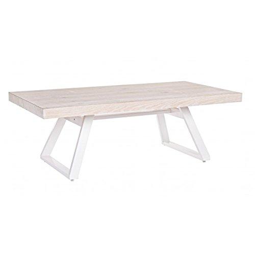 Bizzotto Blanche Table en Bois Chêne Blanchi/Métal 3 Postes 120 x 60 x 40 cm