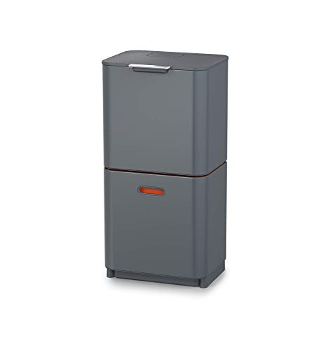 Joseph Joseph IntelligentWaste Totem Max 60 Mülltrennsystem - Abfallbehälter mit separater Recycling-Einheit, inkl. Biomüll-Caddy, 60 Liter - graphit