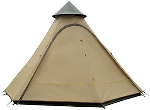 ZJDU Tiendas de campaña para Acampar Tienda India Tienda India Tipo Resistente al Viento Tipo Camping Canopy New Pergola Tower Tienda para Pesca Mochilero (Color: Marrón, Tamaño: 3-4 Personas)