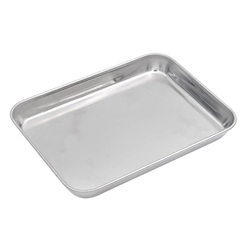 Aspire 304 Stainless Steel Tray Cookie Sheet Baking Pan, 10.5 Inch X 8 Inch X 1 Inch