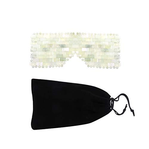 EXCEART Natürliche Jade Schlafmaske Anti-Aging Gesichtsschlaf Augenmaske Heiße Oder Kalte Augenbinde für Geschwollene Augen Augenringe Kopfschmerzen Migräne Grün