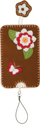 Dimensions Needlecrafts Feltworks Embroidery, Flower And Butterfly Cell Case