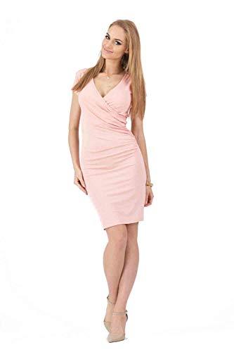 Vestidos De Fiesta Vestir Dress Mujer Niña Vestido De Tubo De Manga Corta con Cuello En V Y Volantes Laterales A La Moda Vestidos Ajustados De Fiesta Informal De Oficina Formal Ajustados-Pink_XL