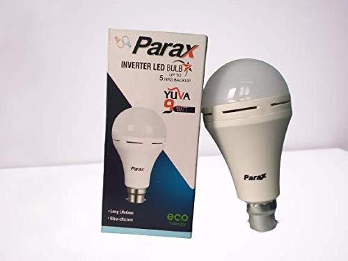 Confident™ Made in India Parax 9w Inverter Bulb 5hrs Back up 2600 Mah Lithium ion Battery,Pack of 1