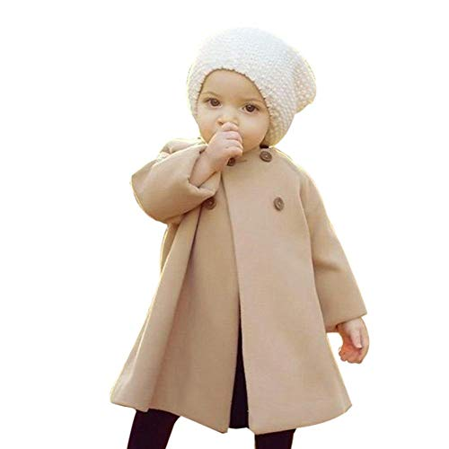 0-5T Autumn Winter Kids Baby Girls Solid Outerwear Cloak Cape Button Jacket Warm Fashion Woolen Coat Trench Clothes (Khaki, 6-12 Months)