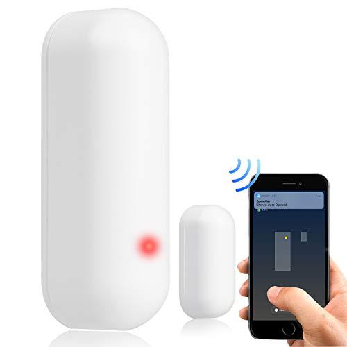 WiFi Tür und Fenster Smart Sensor Alarm, APP Control Drahtloses Sicherheitssystem mit Push-Benachrichtigung, universelle Installation, kompatibel mit Amazon Alexa, Google Home, IFTTT (1)